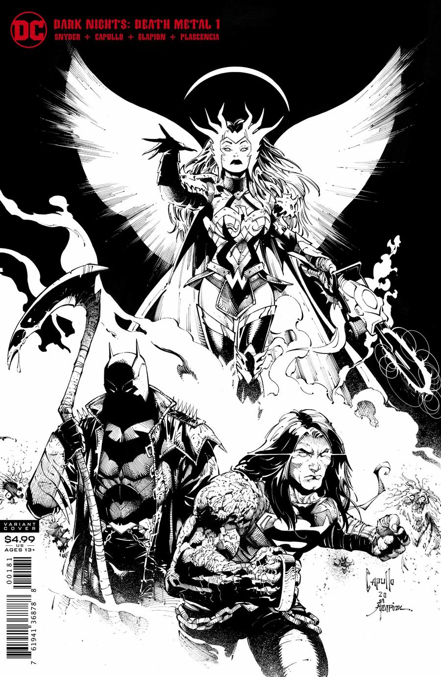 Dark Nights Death Metal #1 Cover E Variant Greg Capullo & Jonathan Glapion Midnight Party Black & White Cover