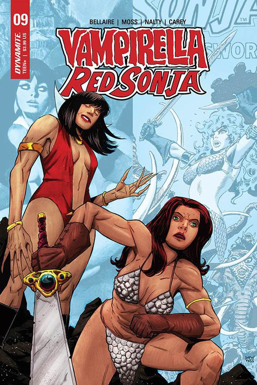 Vampirella Red Sonja #9 Cover E Variant Drew Moss Then And Now Cover