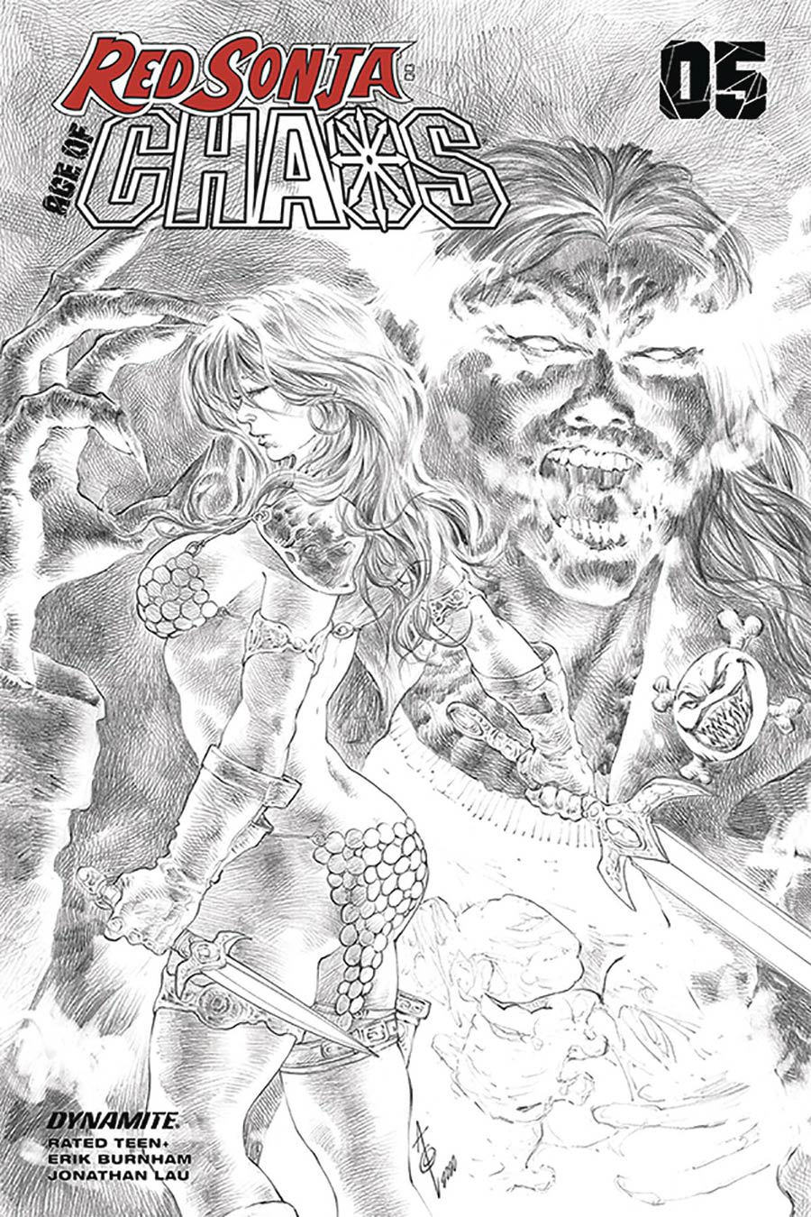 Red Sonja Age Of Chaos #5 Cover N Incentive Alan Quah Black & White Cover