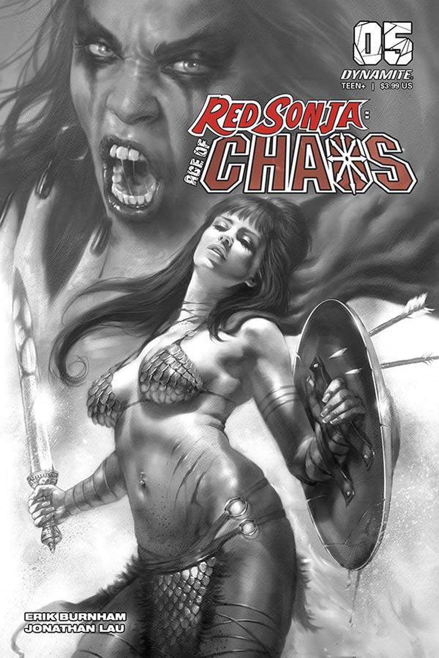 Red Sonja Age Of Chaos #5 Cover R Incentive Lucio Parrillo Black & White Cover