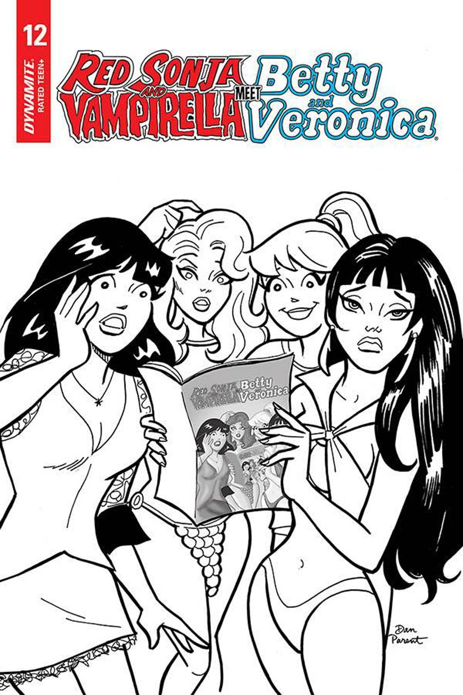 Red Sonja And Vampirella Meet Betty And Veronica #12 Cover F Incentive Dan Parent Black & White Cover