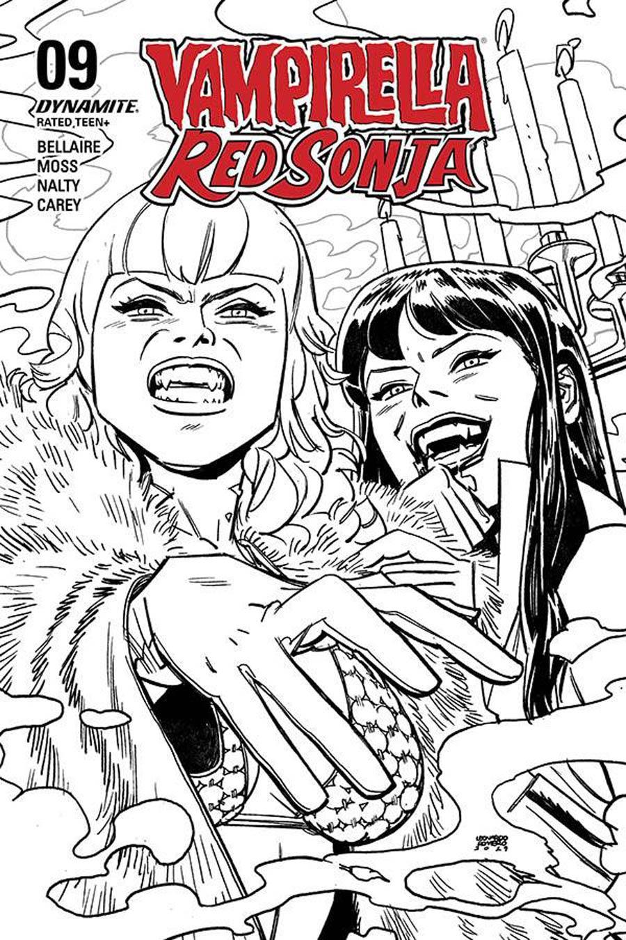 Vampirella Red Sonja #9 Cover Q Incentive Leonardo Romero & Jordie Bellaire Black & White Cover