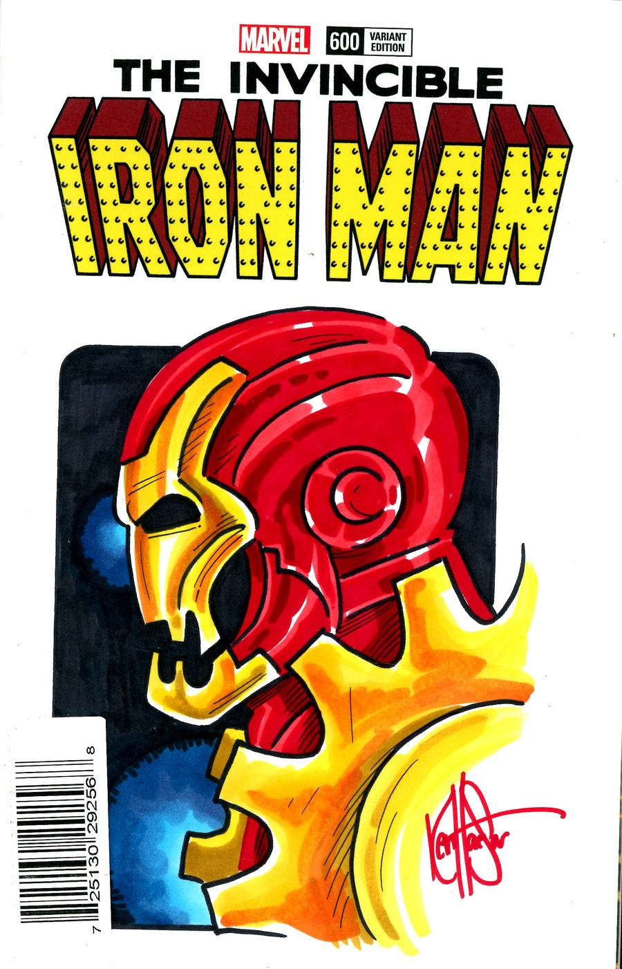 Invincible Iron Man Vol 3 #600 Cover K DF Blank Variant Cover With An Iron Man 2020 Hand-Drawn Sketch By Ken Haeser