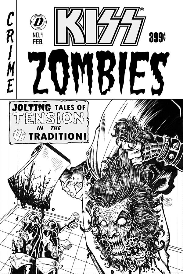 KISS Zombies #4 Cover F Incentive Ken Haeser Black & White Cover