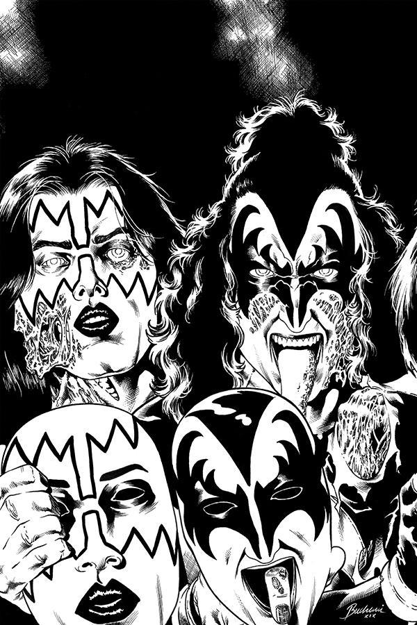 KISS Zombies #4 Cover I Incentive Rodney Buchemi Black & White Virgin Cover