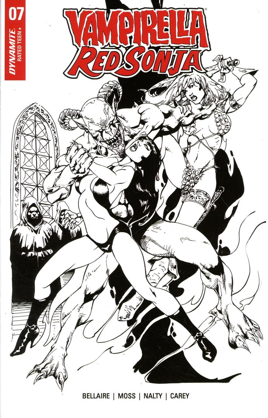 Vampirella Red Sonja #7 Cover H Incentive Roberto Castro Black & White Cover