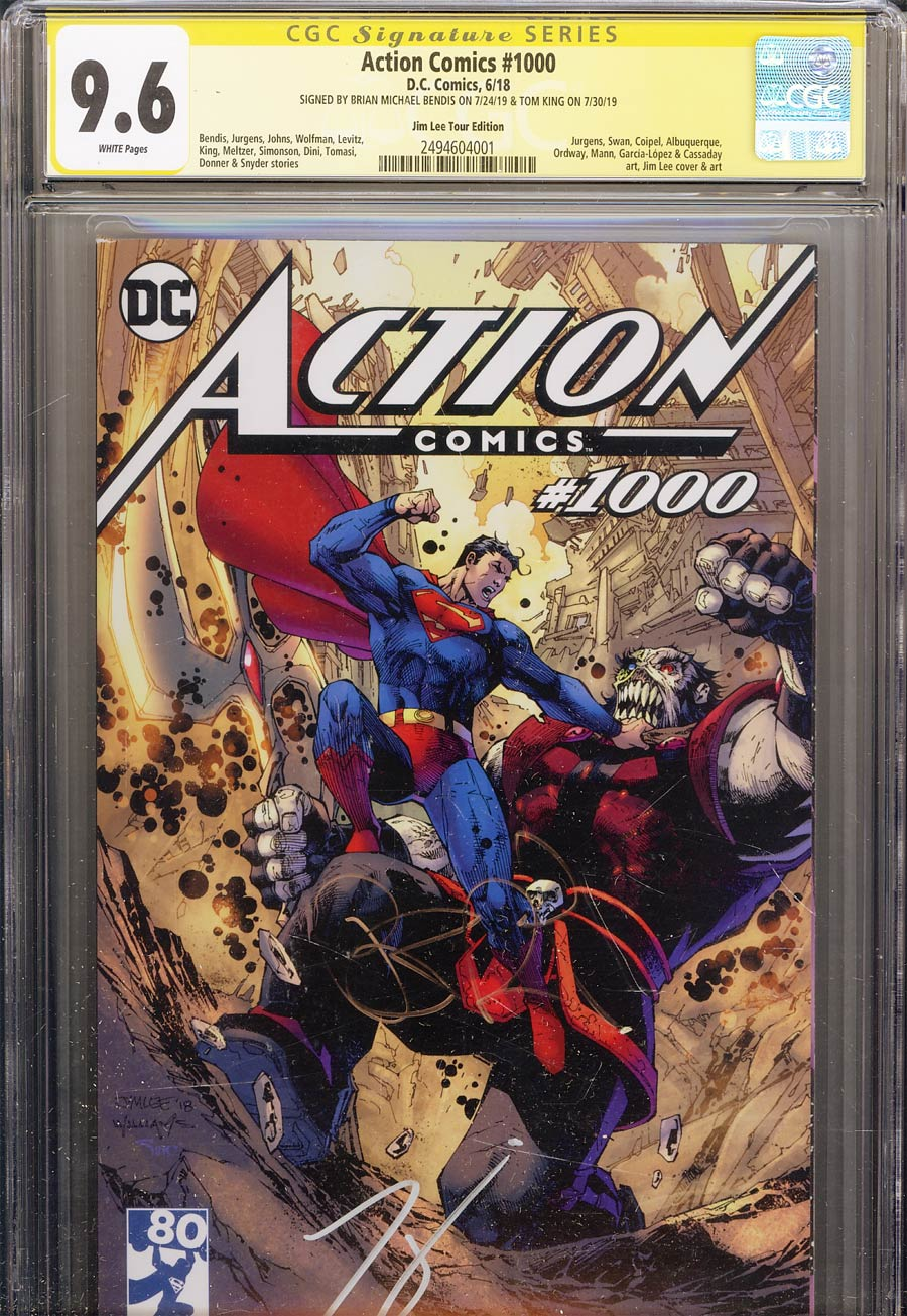 Action Comics Vol 2 #1000 Cover Z-Z-D Variant Jim Lee Tour Cover CGC SS 9.6 Signed By Brian Michael Bendis And Tom King