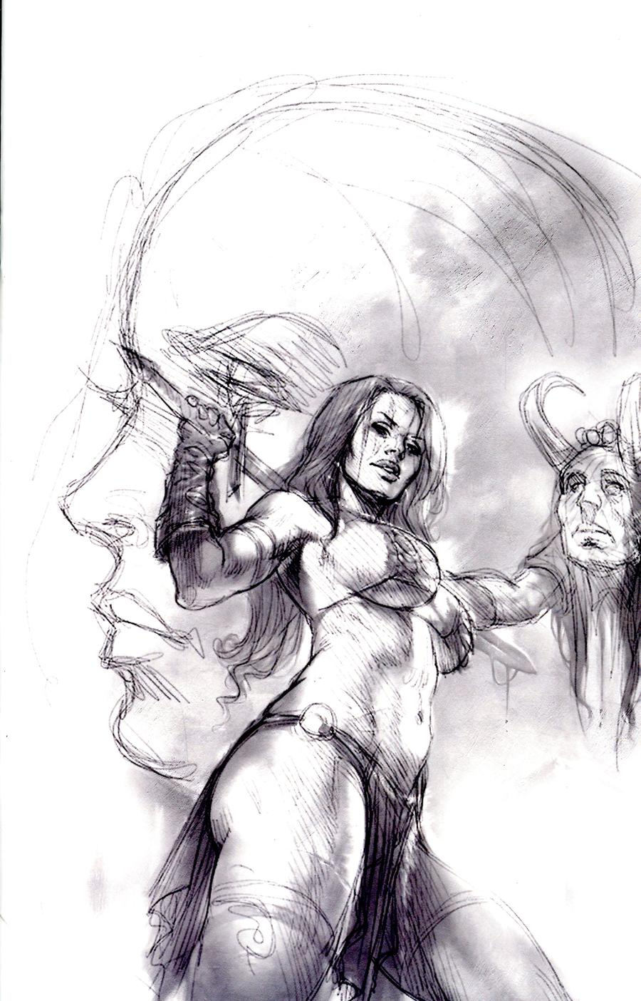 Red Sonja Age Of Chaos #3 Cover L Incentive Lucio Parrillo Black & White Virgin Cover
