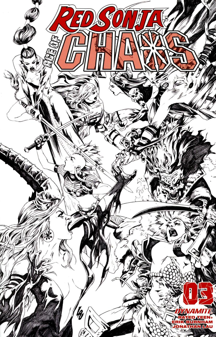Red Sonja Age Of Chaos #3 Cover R Incentive Jonathan Lau Black & White Cover