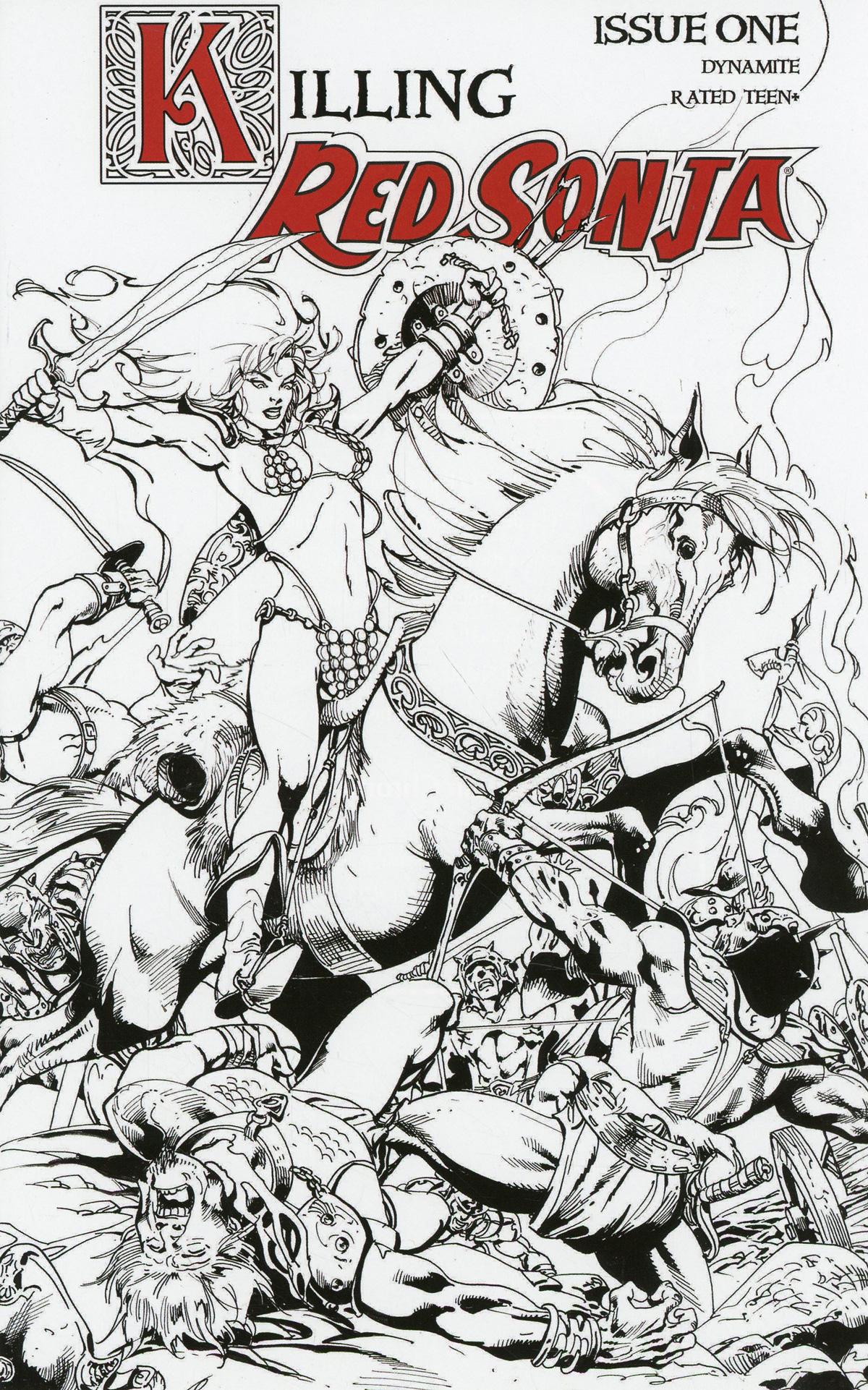 Killing Red Sonja #1 Cover D Incentive Roberto Castro Black & White Cover