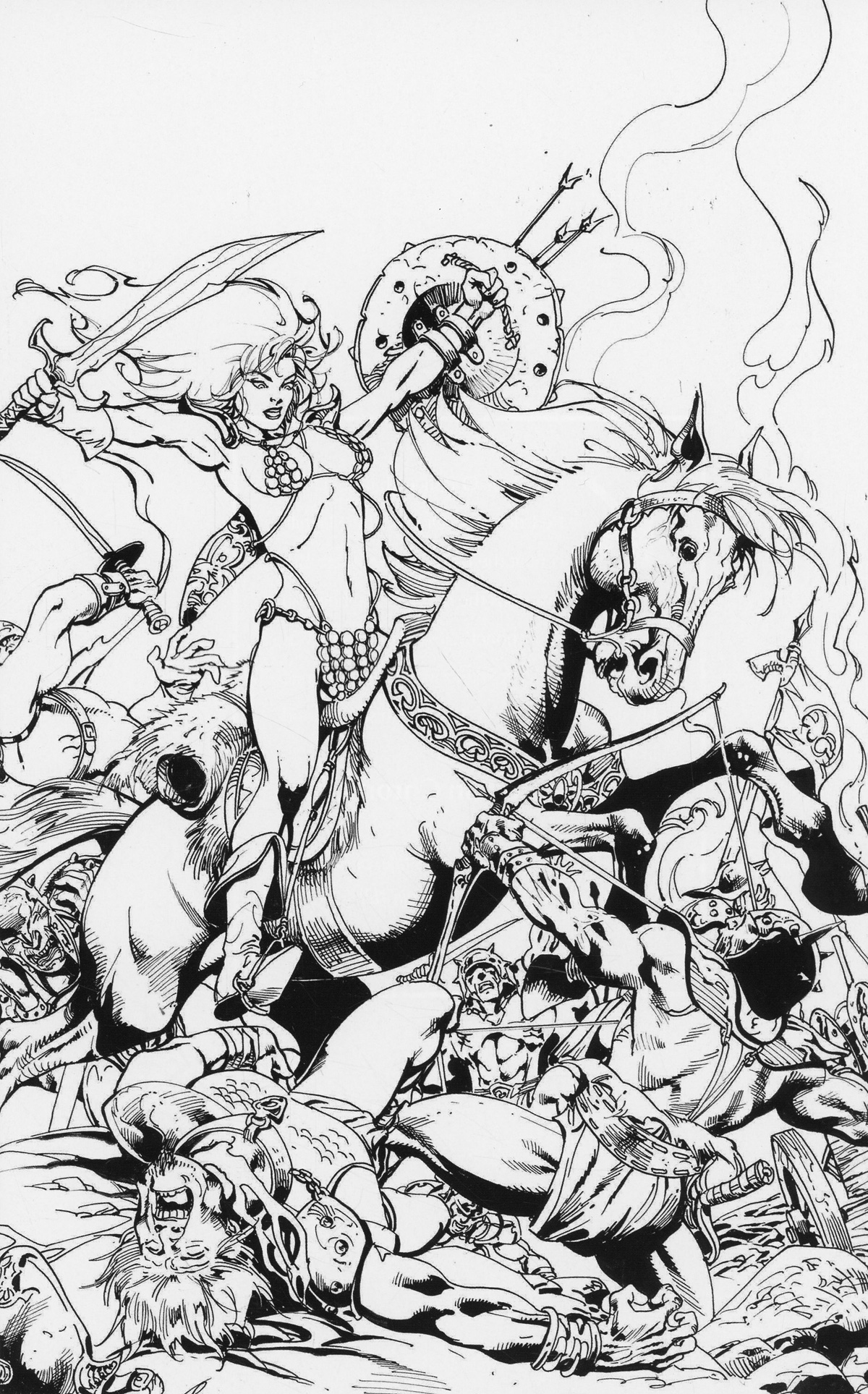 Killing Red Sonja #1 Cover G Incentive Roberto Castro Black & White Virgin Cover