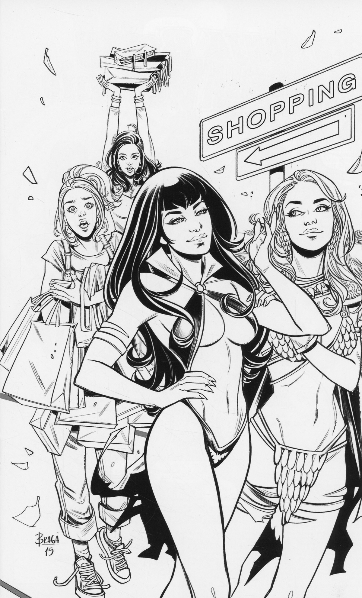 Red Sonja And Vampirella Meet Betty And Veronica #10 Cover G Incentive Laura Braga Black & White Virgin Cover