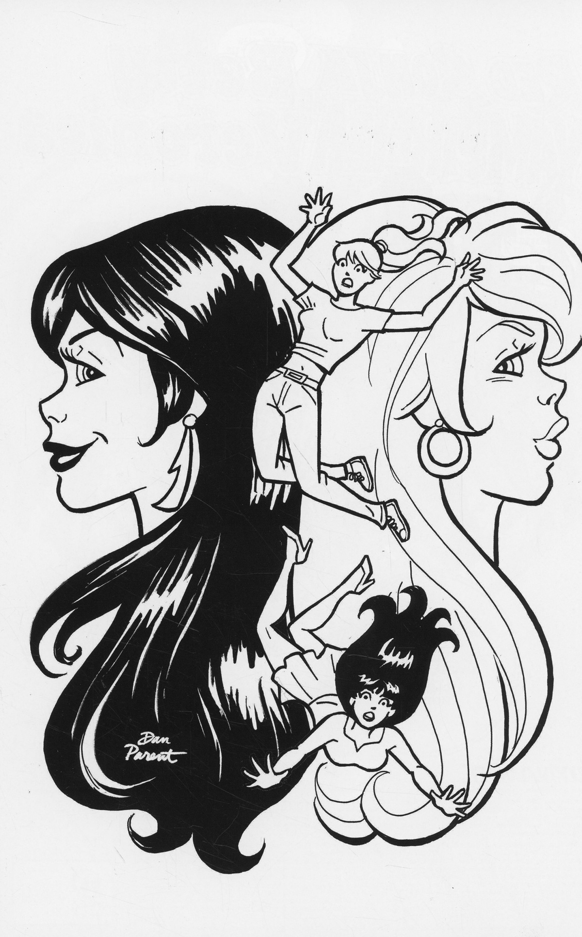 Red Sonja And Vampirella Meet Betty And Veronica #10 Cover I Incentive Dan Parent Black & White Virgin Cover