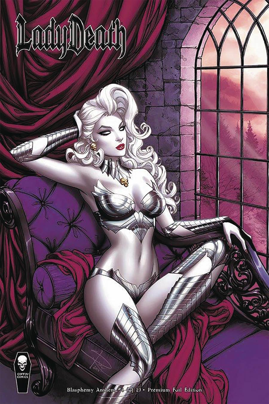 Lady Death Blasphemy Anthem #1 Cover C Variant Sabine Rich Premium Foil Cover