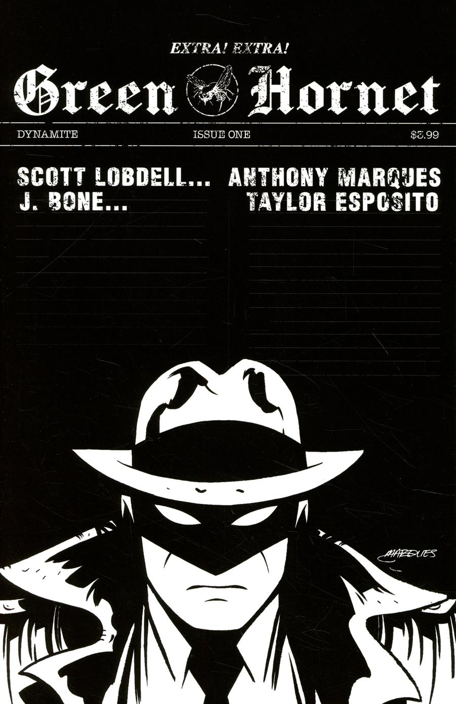Green Hornet Vol 5 #1 Cover J Incentive Anthony Marques Black & White Cover