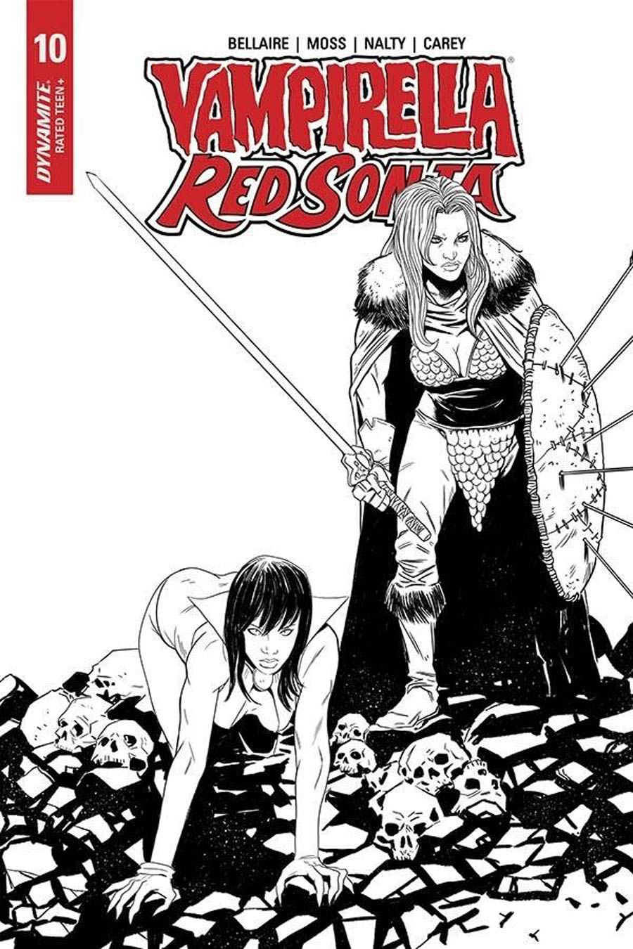 Vampirella Red Sonja #10 Cover I Incentive Drew Moss Then And Now Black & White Cover
