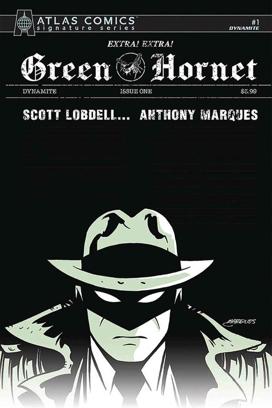Green Hornet Vol 5 #1 Cover N Atlas Comics Signature Series Signed By Anthony Marques