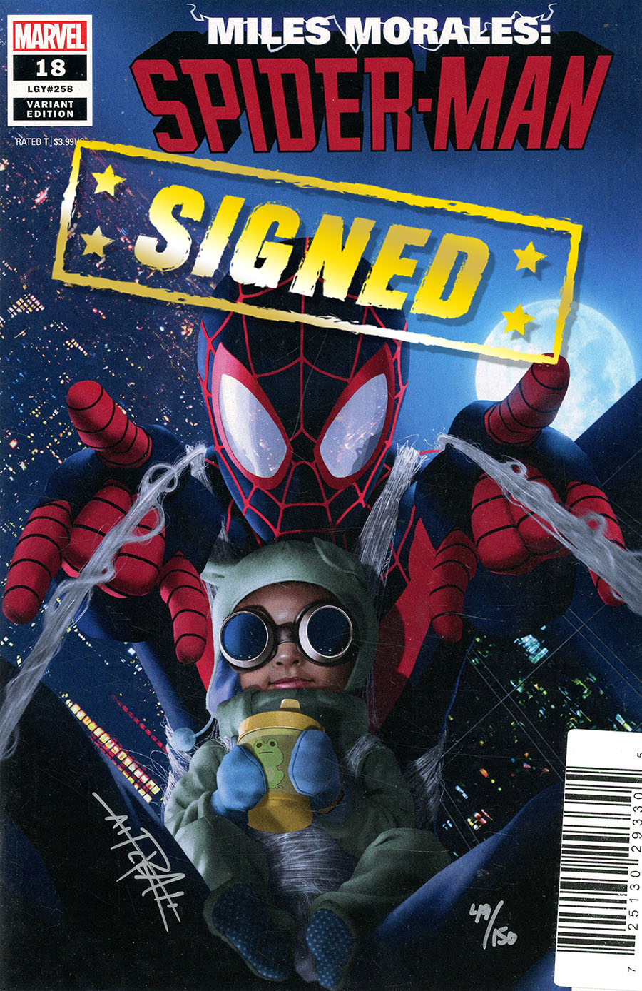 Miles Morales Spider-Man #18 Cover D DF Variant Baby Morales Cover Signed By Rahzzah