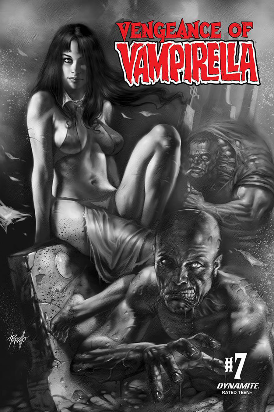 Vengeance Of Vampirella Vol 2 #7 Cover K Incentive Lucio Parrillo Black & White Cover