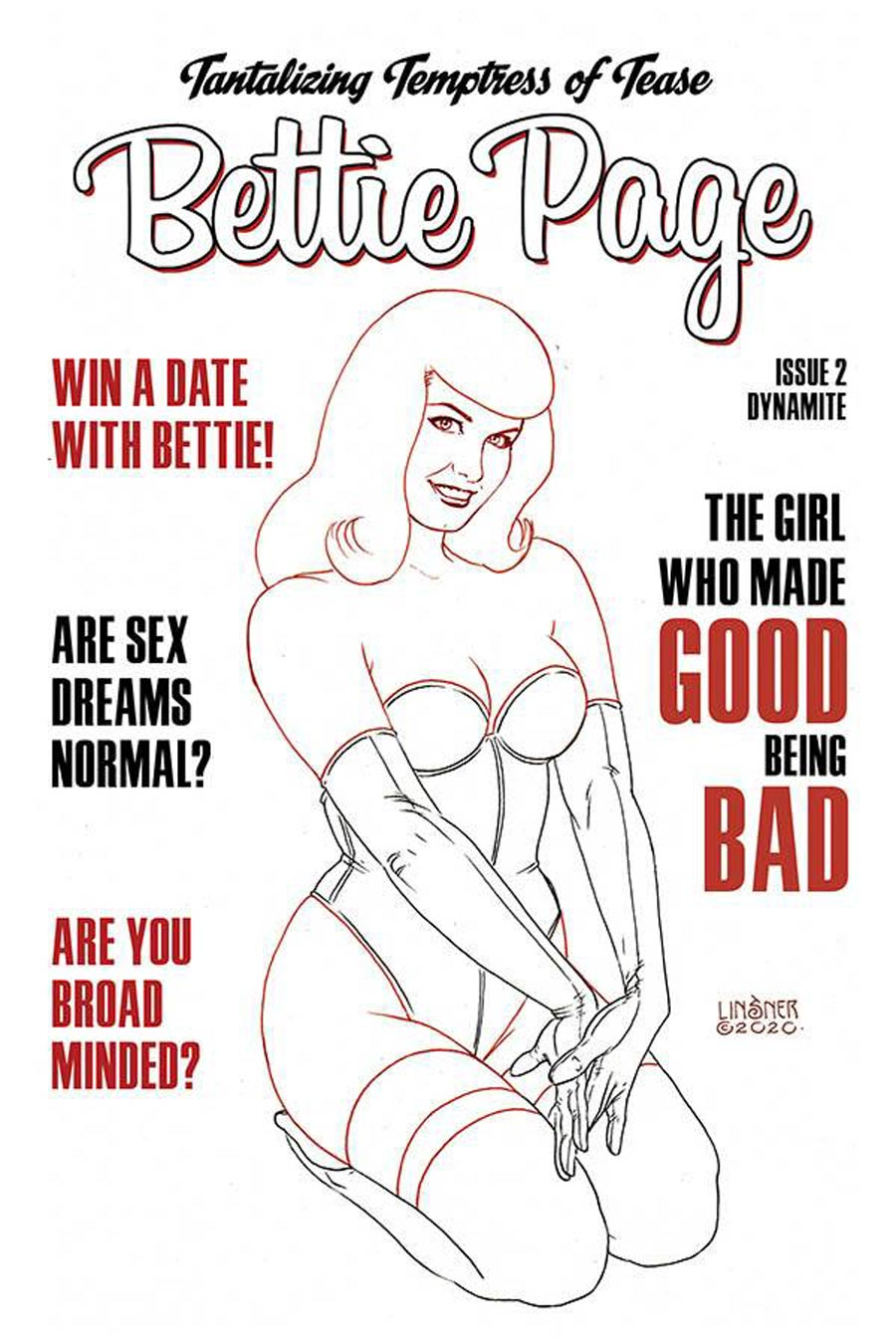 Bettie Page Vol 3 #2 Cover P Incentive Joseph Michael Linsner Black & White Cover