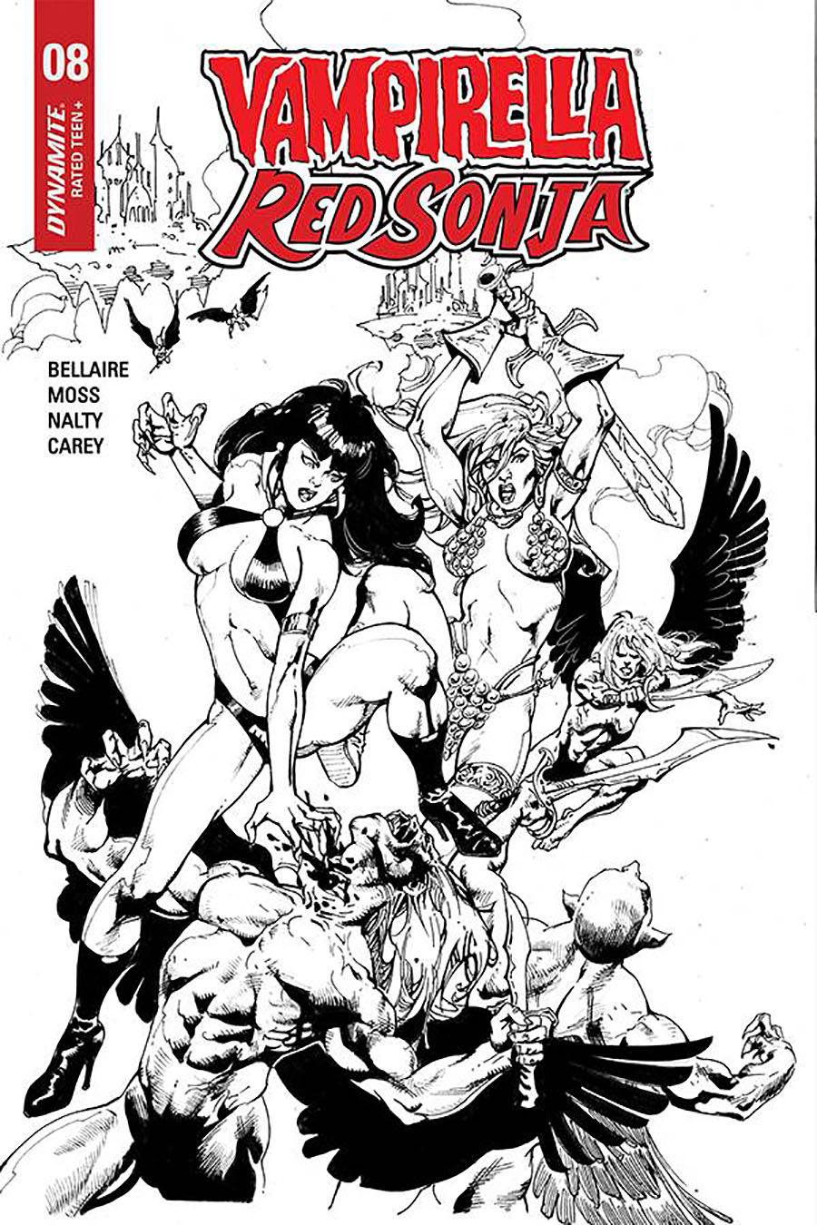 Vampirella Red Sonja #8 Cover H Incentive Roberto Castro Black & White Cover