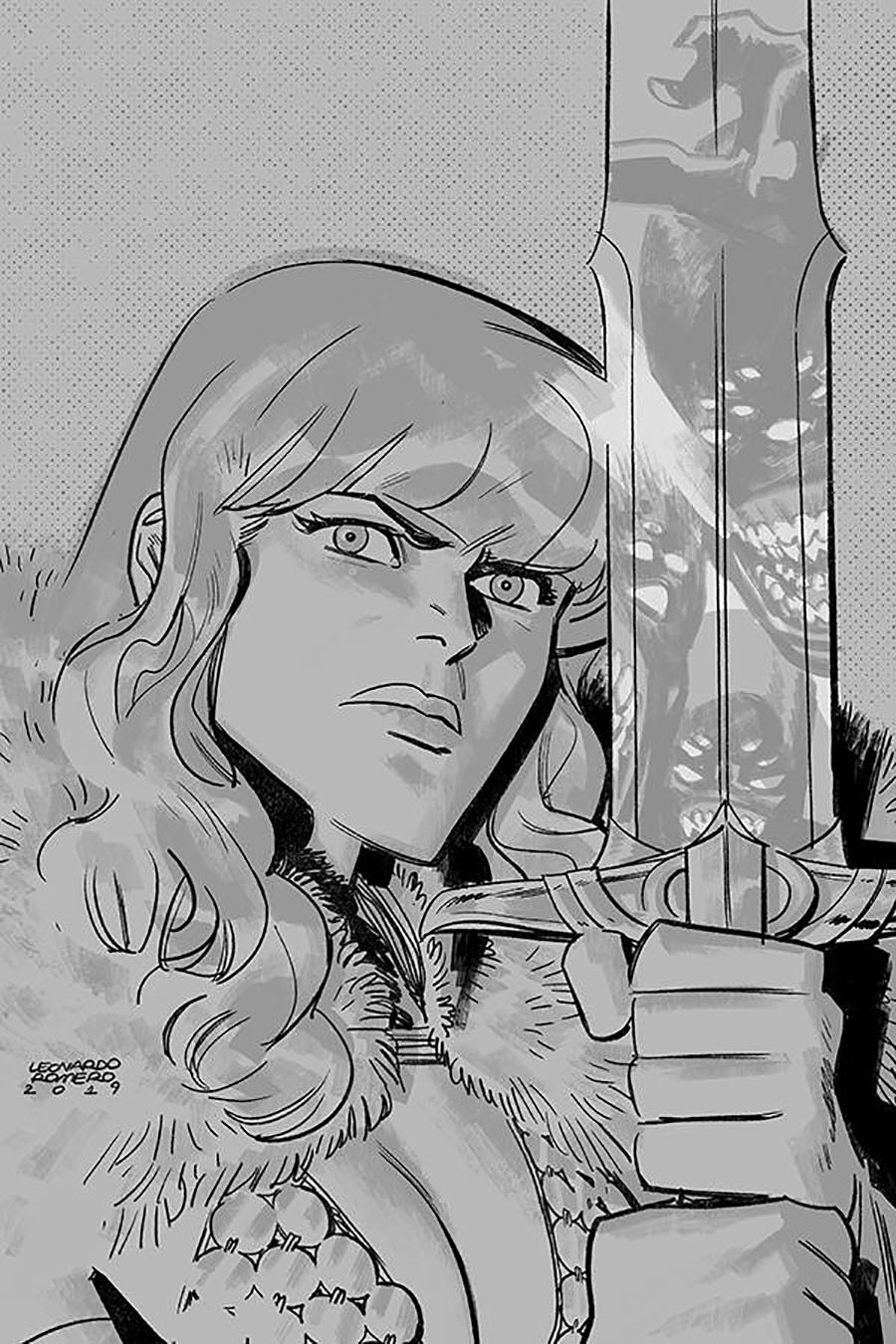 Vampirella Red Sonja #8 Cover L Incentive Leonardo Romero Black & White Virgin Cover