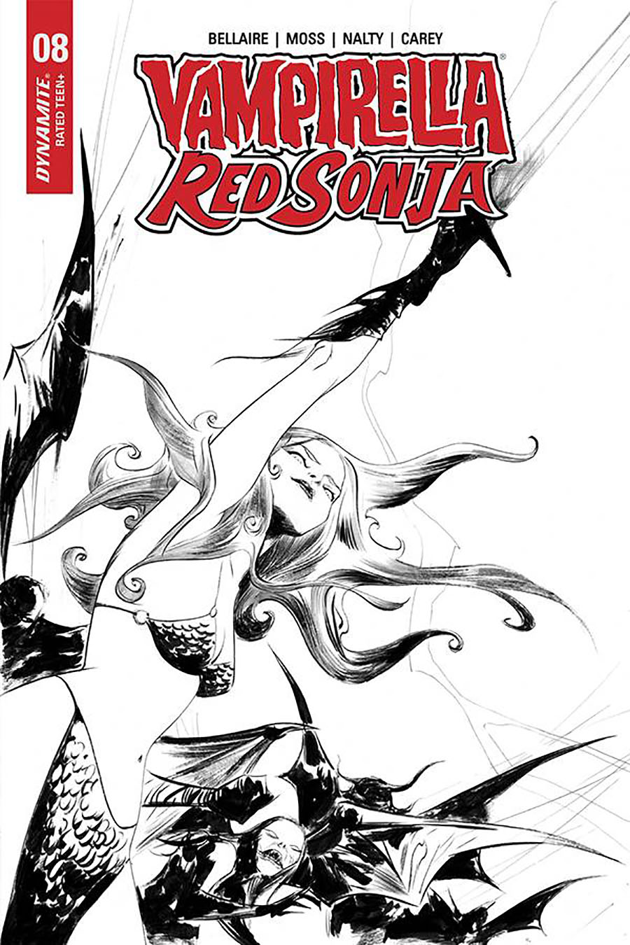 Vampirella Red Sonja #8 Cover N Incentive Jae Lee Black & White Cover