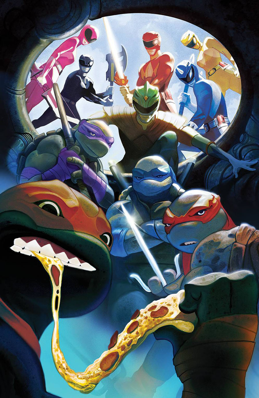 Mighty Morphin Power Rangers Teenage Mutant Ninja Turtles #5 Cover F Variant Mike Del Mundo Cover