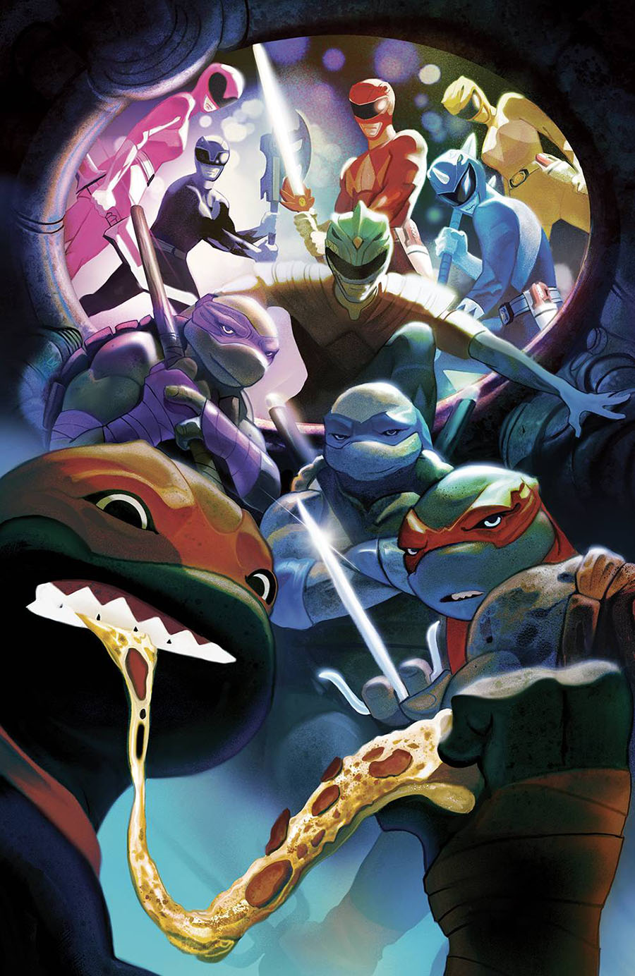 Mighty Morphin Power Rangers Teenage Mutant Ninja Turtles #5 Cover H Incentive Mike Del Mundo Space Background Variant Cover