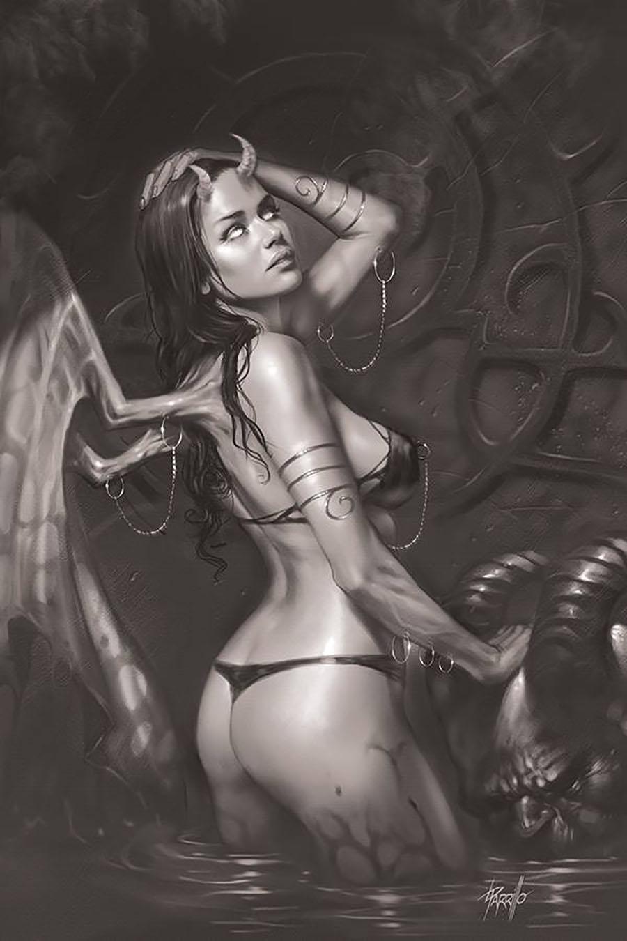 Red Sonja Age Of Chaos #4 Cover L Incentive Lucio Parrillo Black & White Virgin Cover