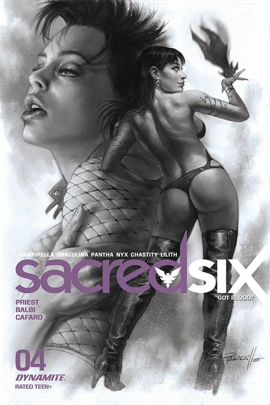 Sacred Six #4 Cover L Incentive Lucio Parrillo Black & White Cover