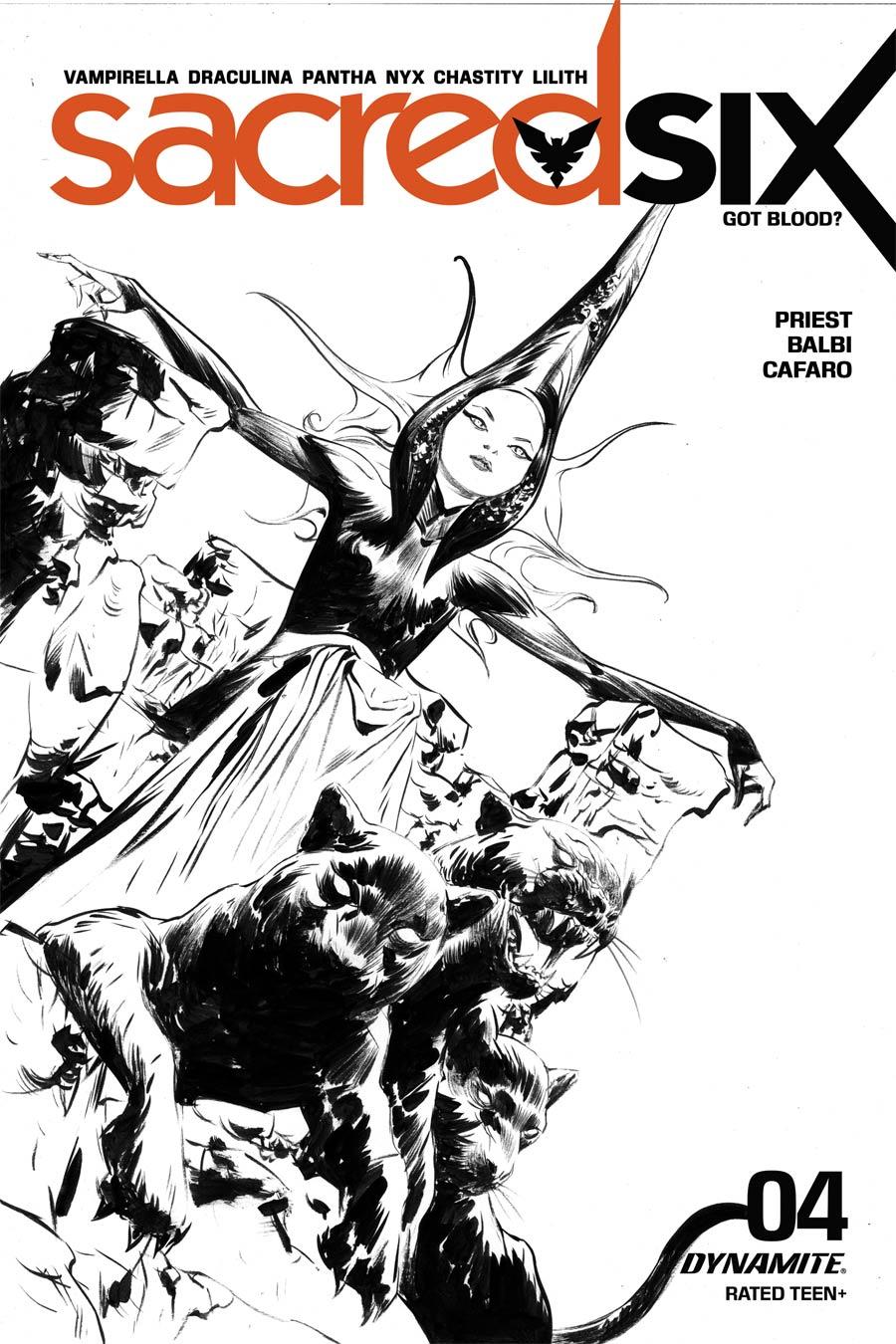 Sacred Six #4 Cover N Incentive Jae Lee Black & White Cover