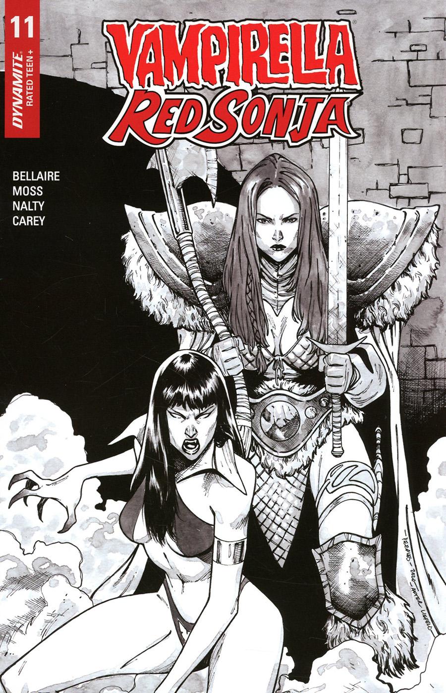Vampirella Red Sonja #11 Cover K Incentive Brent Peeples Rob Liefeld Homage Black & White Cover