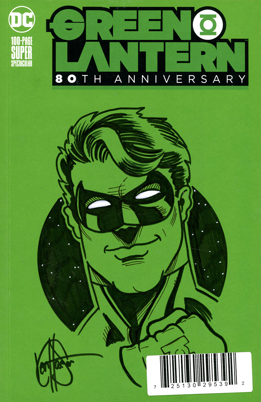 Green Lantern 80th Anniversary 100-Page Super Spectacular #1 Cover L DF Variant Green Blank Cover Signed & Remarked By Ken Haeser