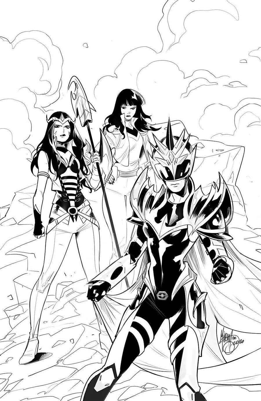 Power Rangers Drakkon New Dawn #2 Cover D Incentive Dan Mora Black & White Variant Cover
