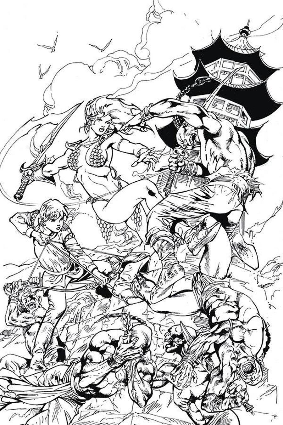 Killing Red Sonja #2 Cover G Incentive Roberto Castro Black & White Virgin Cover