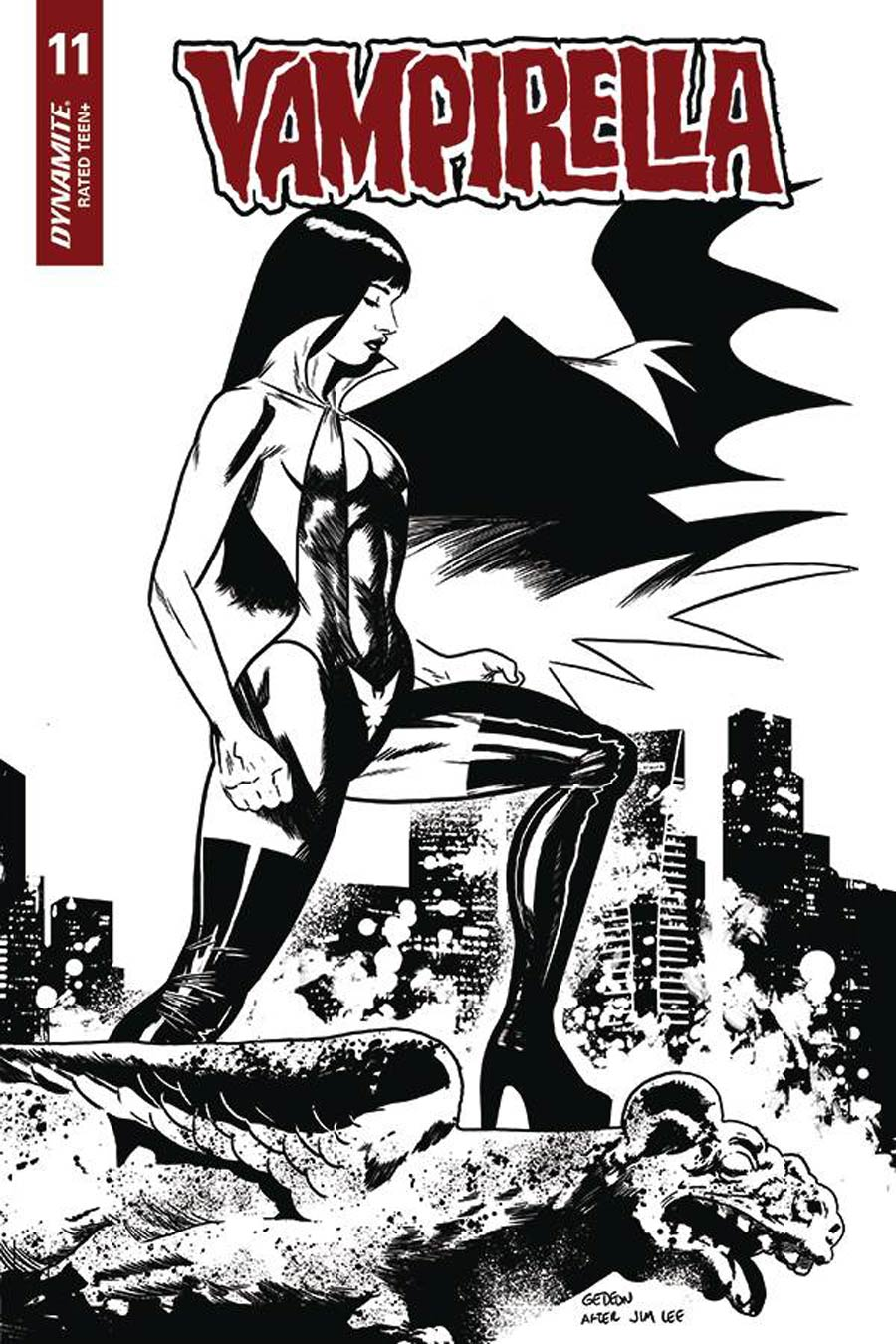 Vampirella Vol 8 #11 Cover O Incentive Juan Gedeon Jim Lee Homage Black & White Cover