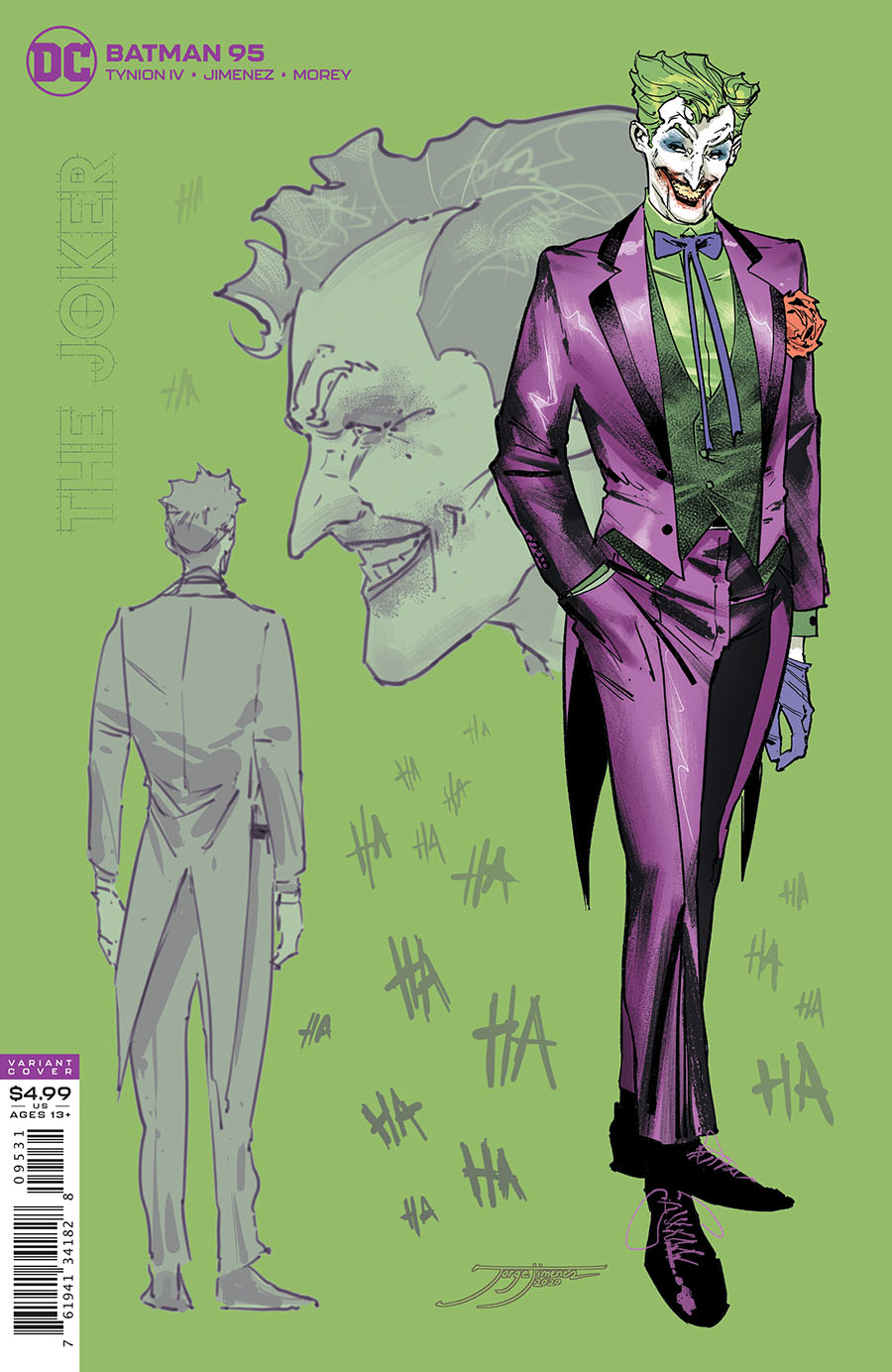 Batman Vol 3 #95 Cover C Incentive Jorge Jimenez Joker Card Stock Variant Cover (Joker War Tie-In)