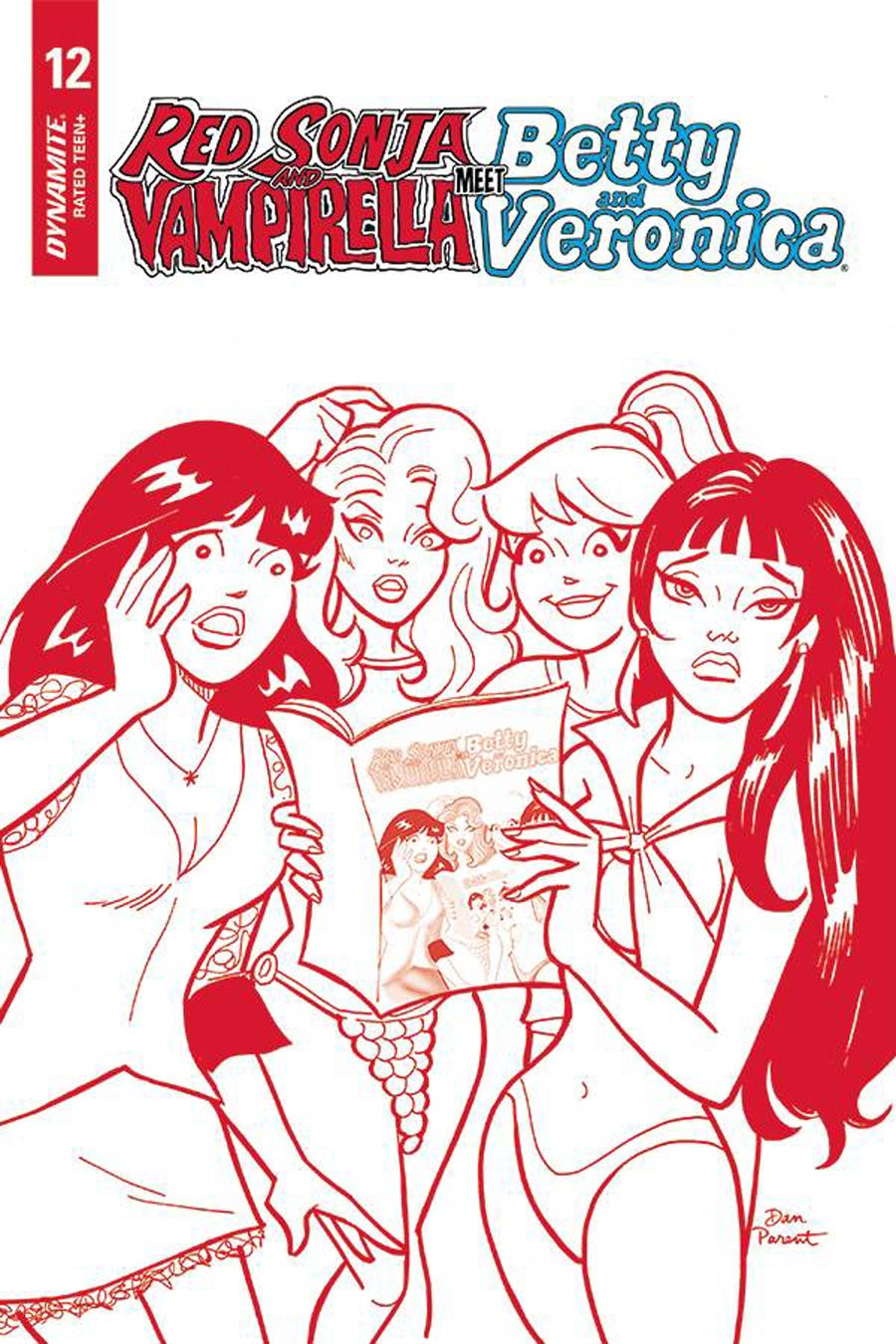 Red Sonja And Vampirella Meet Betty And Veronica #12 Cover H Incentive Dan Parent Red Tint Cover
