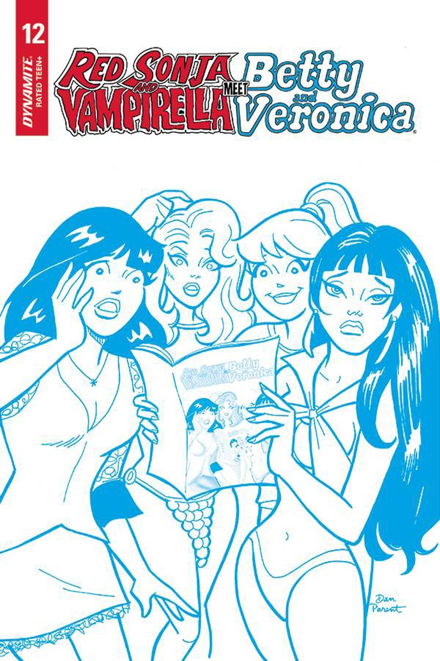 Red Sonja And Vampirella Meet Betty And Veronica #12 Cover J Incentive Dan Parent Blue Tint Cover