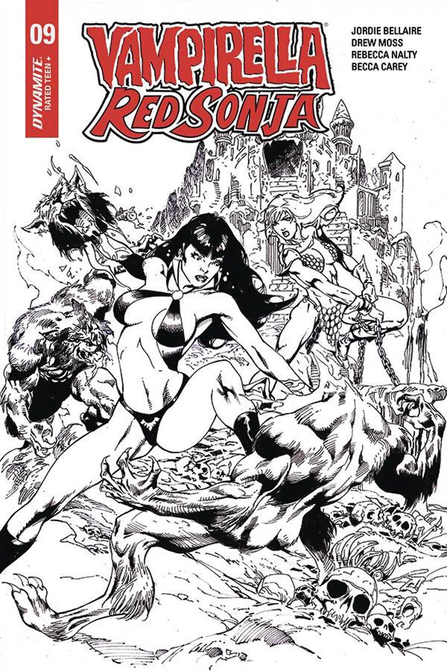 Vampirella Red Sonja #9 Cover H Incentive Roberto Castro Black & White Cover