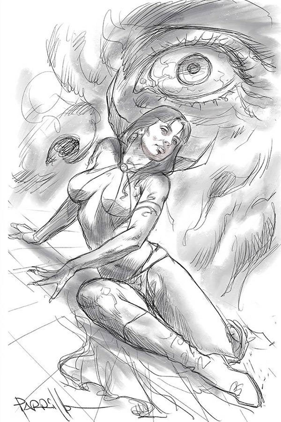 Vampirella Vol 8 #15 Cover T Incentive Lucio Parrillo Black & White Virgin Cover