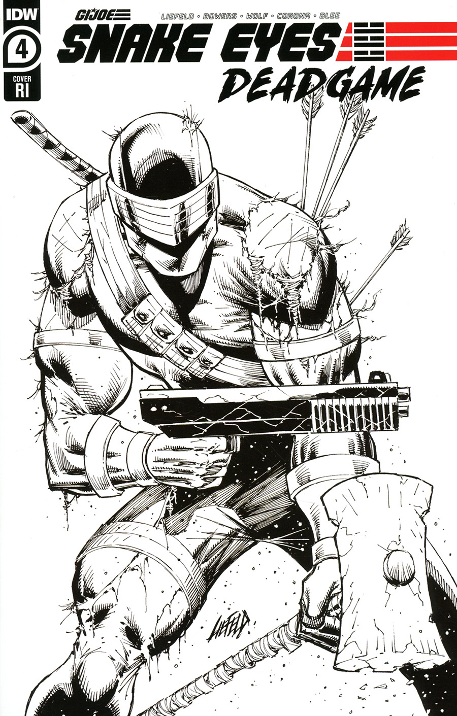 Snake Eyes Deadgame #4 Cover C Incentive Rob Liefeld Black & White Cover