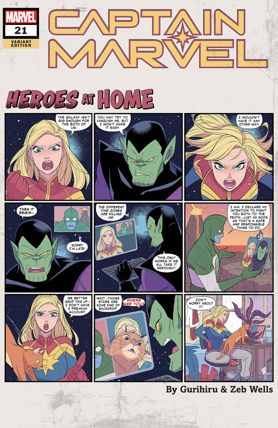 Captain Marvel Vol 9 #21 Cover D Variant Gurihiru Heroes At Home Cover (Empyre Tie-In)