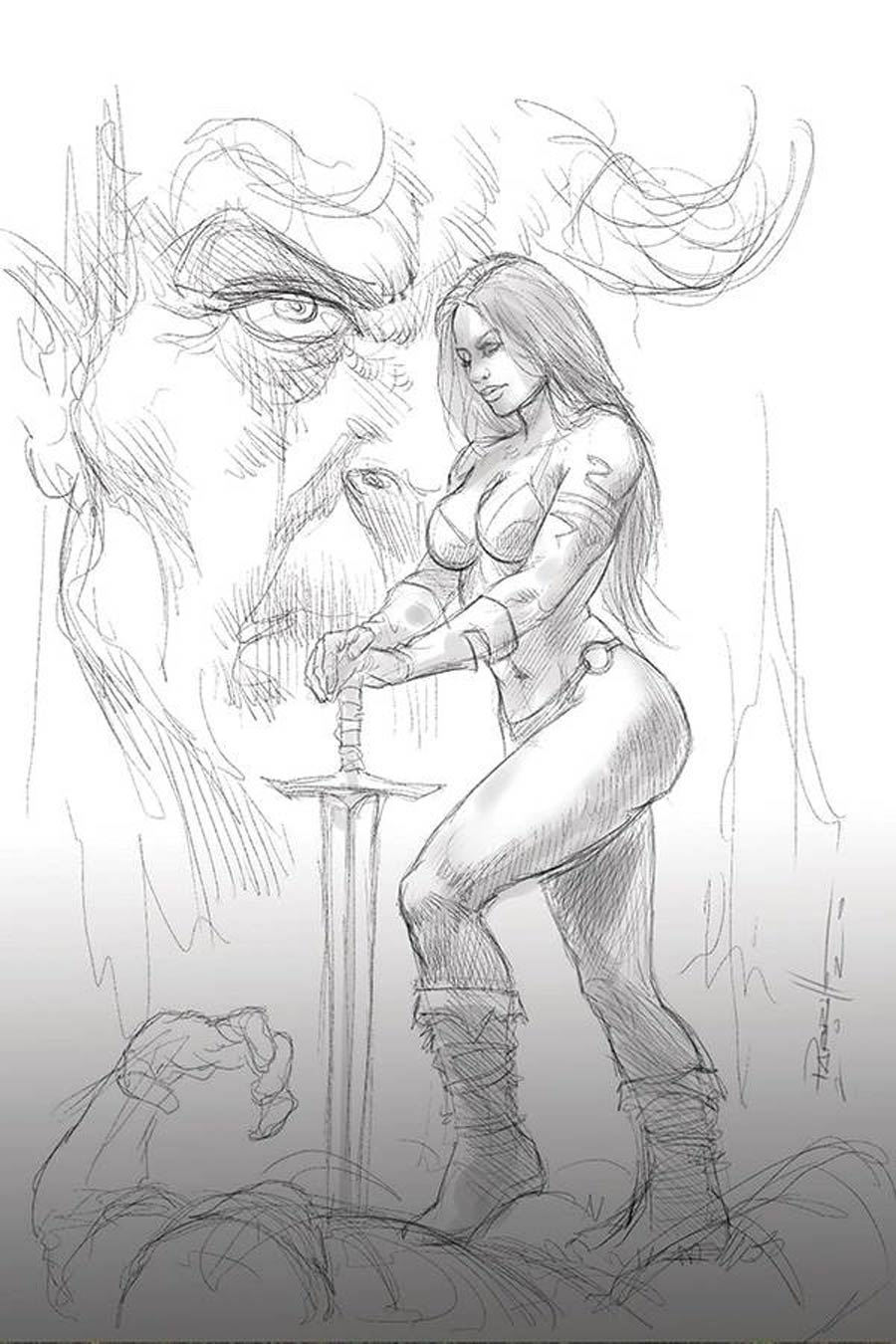 Red Sonja Age Of Chaos #6 Cover K Incentive Lucio Parrillo Black & White Virgin Cover