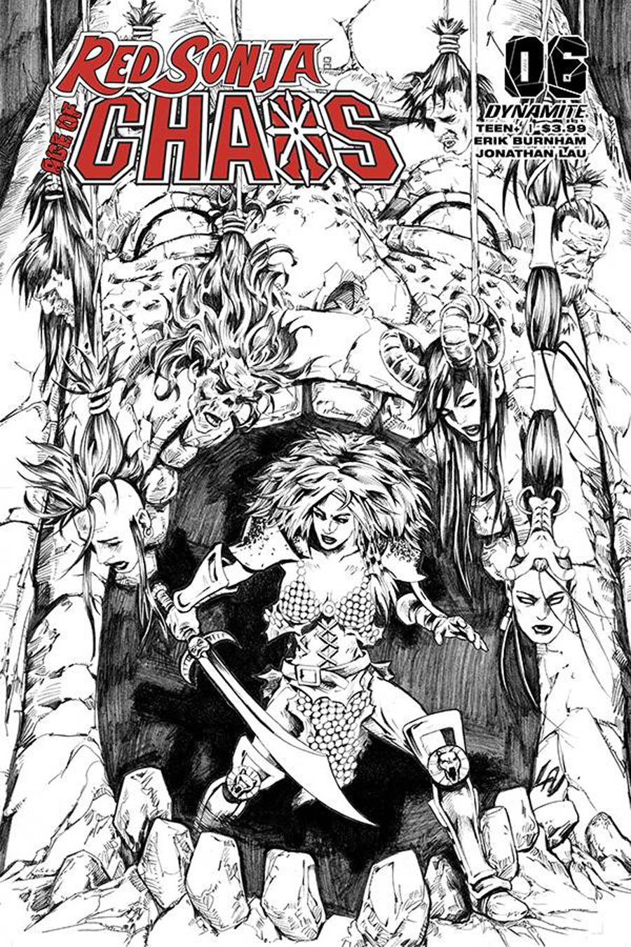 Red Sonja Age Of Chaos #6 Cover P Incentive Jonathan Lau Black & White Cover