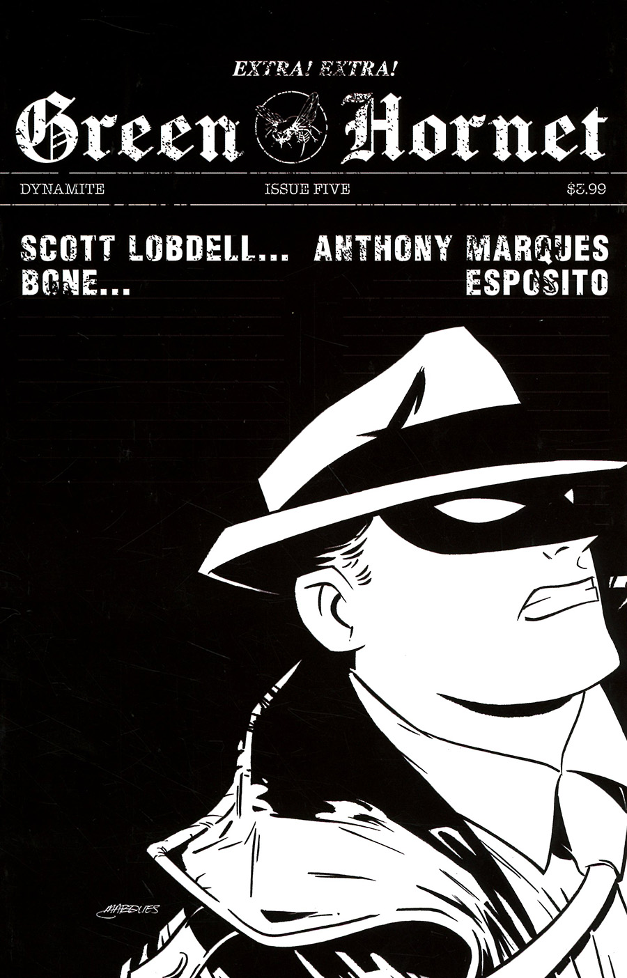 Green Hornet Vol 5 #5 Cover C Incentive Anthony Marques Black & White Cover