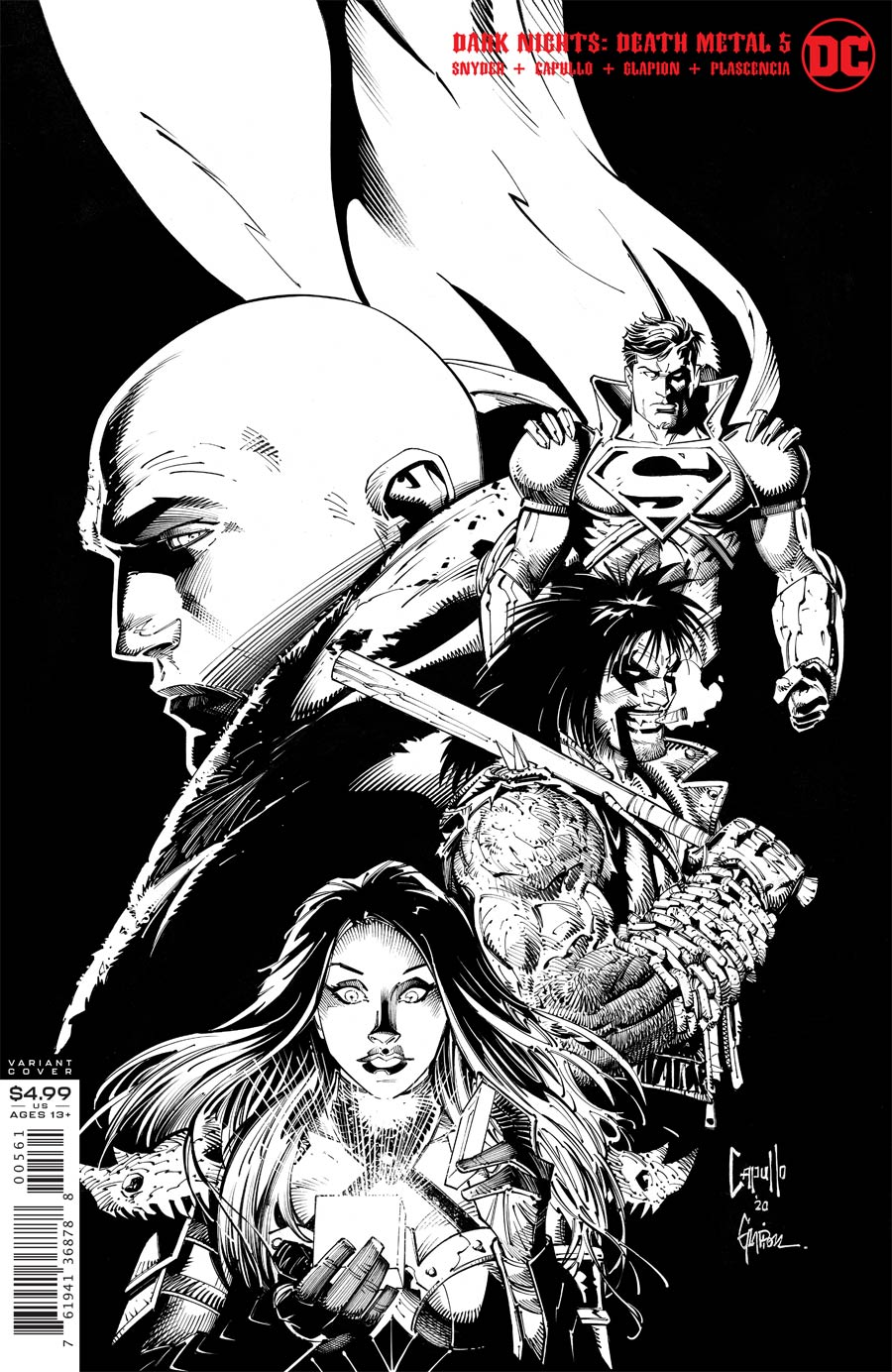 Dark Nights Death Metal #5 Cover F Incentive Greg Capullo & Jonathan Glapion Black & White Cover
