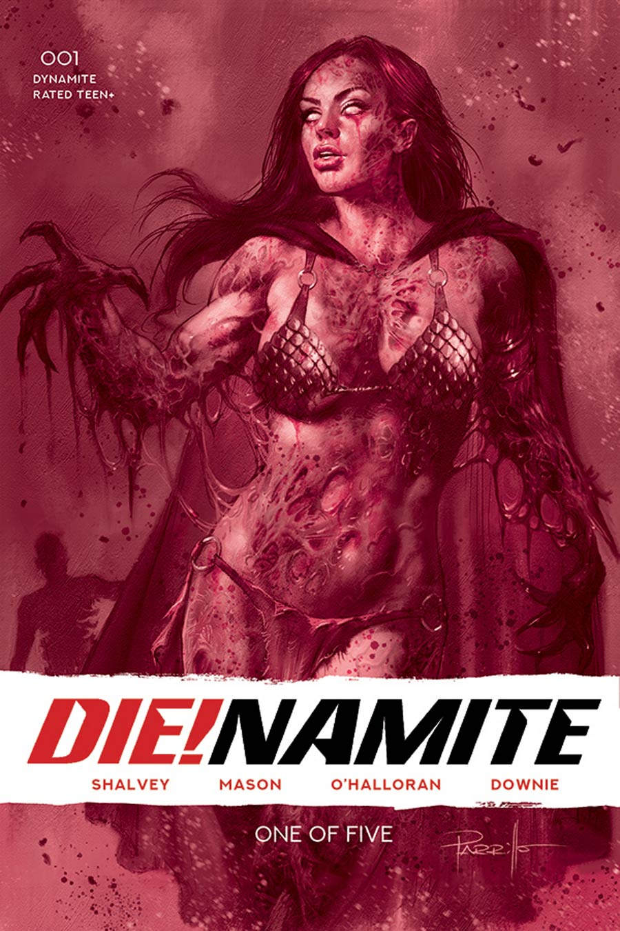 DieNamite #1 Cover X Limited Edition Lucio Parrillo Zombie Bloody Red Tint Dressed Cover