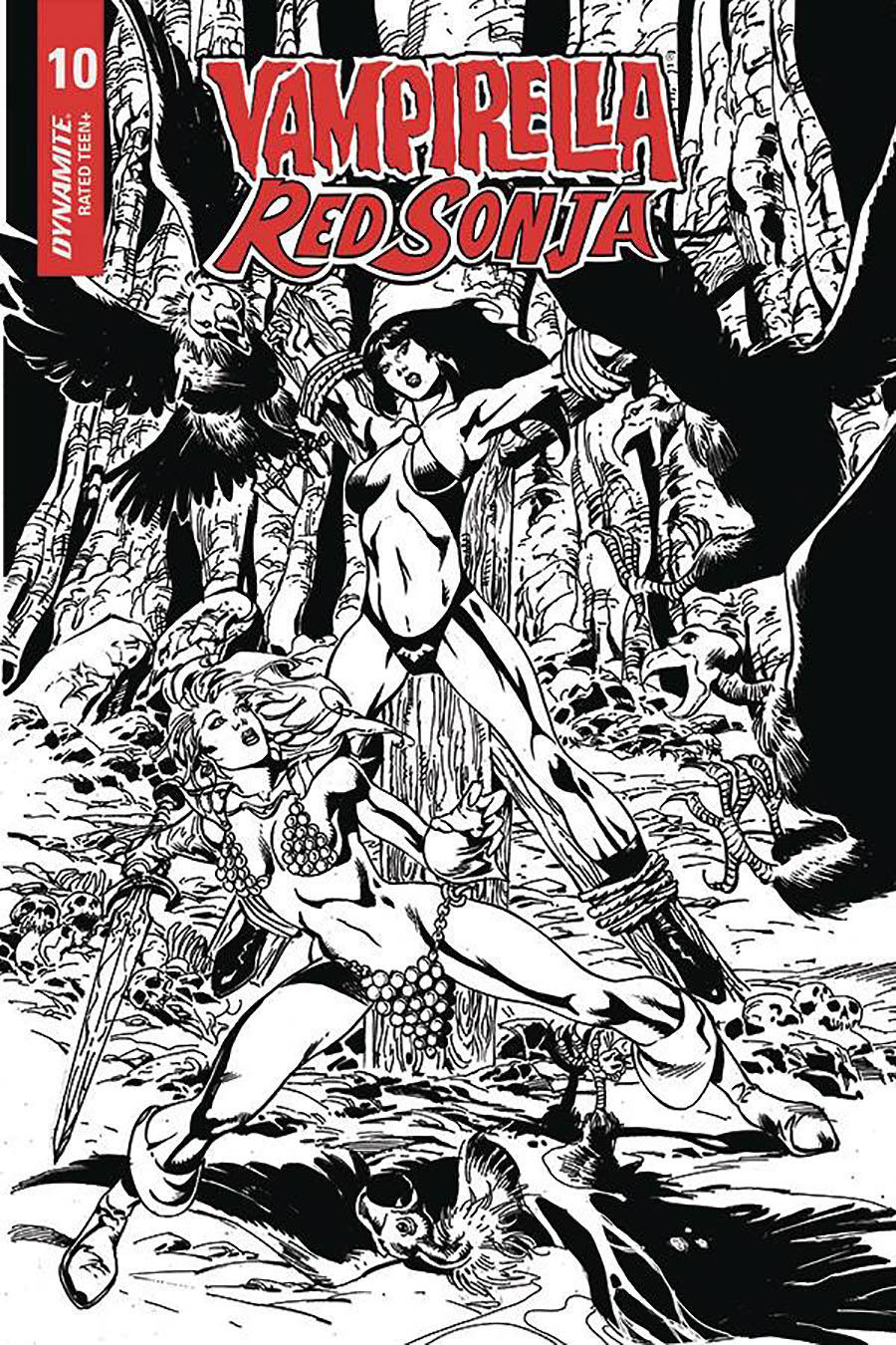 Vampirella Red Sonja #10 Cover G Incentive Roberto Castro Black & White Cover